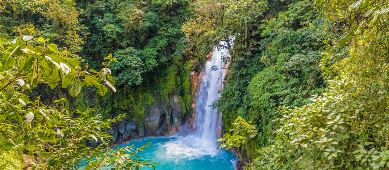 La Fortuna, Costa Rica. March 2018. A View Of The Blue Waterfall