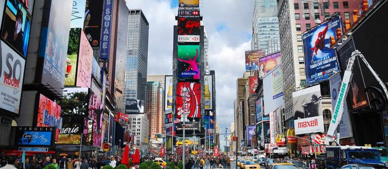 NEW YORK CITY, NY - SEP 5: Times Square is featured with Broadwa